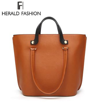 Herald Fashion Women Tote Bags Large Capacity Top-Handle Bags High Quality Leather Female Shoulder Bag Lady's Daily Handbags