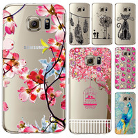 Hot & New Girls Boys Case Cover For Samsung Galaxy S7 S7Edge Soft Silicon TPU Phone Protective Bag Peacock Flower Dandelion Capa