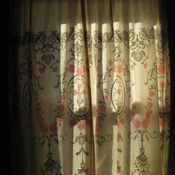 Vintage Damask Pink and Black Curtains