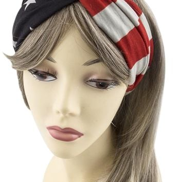 USA American Flag Womens Patriotic American Flag Campus Elastic Headband
