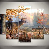 Deer In Forest Hunters 5-Piece Wall Art Canvas
