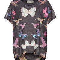 Misumi Black and Pink Butterfly Hummingbird Oversize Top