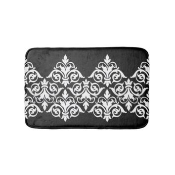 Black White Damask Bath Mat Bath Mats