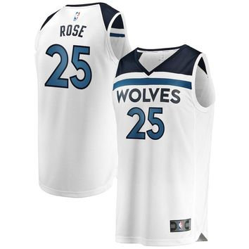 Men's Minnesota Timberwolves #25 Derrick Rose Fanatics Branded White Fast Break Replica Player Jersey- Association Edition - Best Deal Online