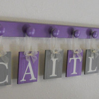 Wall Decorations for Nursery Personalized for CAITLYN Painted in PURPLE & GRAY - 7 Wooden Hooks in Lilac Custom Baby Girl Wall / Room Decor