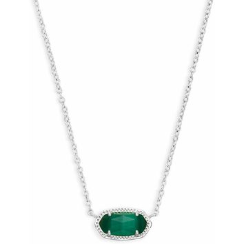 Kendra Scott: Elisa Silver Pendant Necklace In Emerald Cats Eye