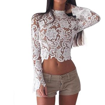 LACE CROP FLARE SLEEVE