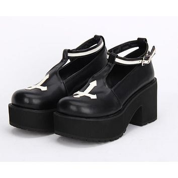 Black and White Gothic Cross Lolita Platform Shoes