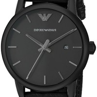Emporio Armani Men's AR1732 Classic Black Stainless Steel Watch with Leather Band