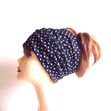 Polka Dot Tube Bandana Dreadlock Head Band Black Wide Head Band Yoga Bandana Women Men Fashion Accessories Cowl Gift Ideas Beach Accessories