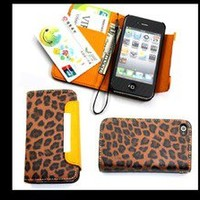 n2electronics — New Luxury Leopard Hard Case Cover For Apple iPhone 4S 4 4G Leather Pouch Red