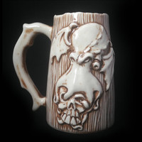 Cthulhu Beer Mug, Handmade, Lovecraft, Ceramic, Porcelain, Sculpted Relief Decoration, Tableware