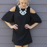 Through The Vine Black Scoop Neck Cold Shoulder Shift Dress