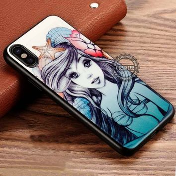 Ariel The Little Mermaid Drawing iPhone X 8 7 Plus 6s Cases Samsung Galaxy S8 Plus S7 edge NOTE 8 Covers #iphoneX #SamsungS8