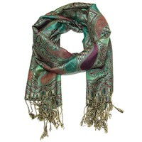 Paisley Paradise Luxury Pashmina Wrap Scarf in Winter Splendor