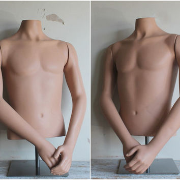 Vintage Life Size Male Mannequin Torso on Stainless Stand, Early 90s Display