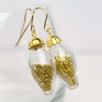 Golden glitter oval blown glass 14k gold filled by thestudio8