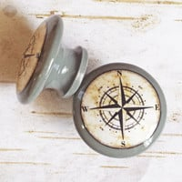 "Nautical Knob Drawer Pulls, Dark Gray, Handmade Antique Style Compass Cabinet Pull Handles, 1.5"" Sea Birch Wood Dresser Knobs, Made To Order"
