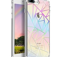 iPhone 7 Plus Case,[Ultra Slim] Crystal Clear Colorful Lines Design Plastic Hard Back Thin Case Anti-Scratch Flexible Soft TPU Bumper Cover With Pattern for iPhone 7 Plus-5.5 inch,Triangle