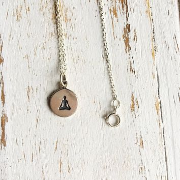 Sterling Silver Lotus Pose Yoga Necklace