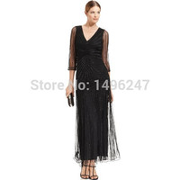 Custom Made Luxury Beading Prom Dresses V Neck A Line Long Prom Dresses With Sleeve Black Mother Of The Bride Dresses Best Sale
