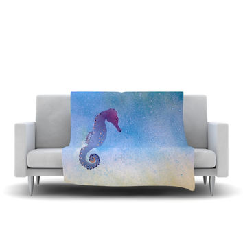 "Infinite Spray Art ""Seahorse"" Blue Painting Fleece Throw Blanket"