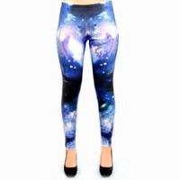 Blue Space Galaxy Leggings - Medium - Official iHeartRaves
