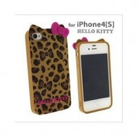 Hello Kitty Leopard & bow case for Apple Iphone 4 4gs -- Yellow