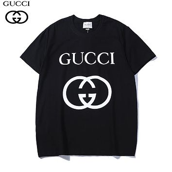 GUCCI 2018 summer new classic double G printing round neck loose short-sleeved T-shirt black
