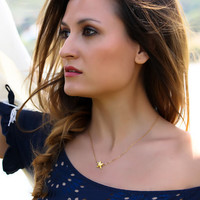 """Gold star necklace, gold puffy Star, 14k gold filled, minimalist, everyday jewelry, shooting star, """"Astris"""" Necklace"""