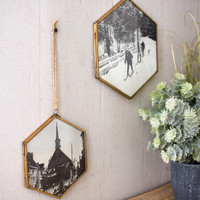 Set of 2 Hexagon Photo Frames with Antique Brass Finish