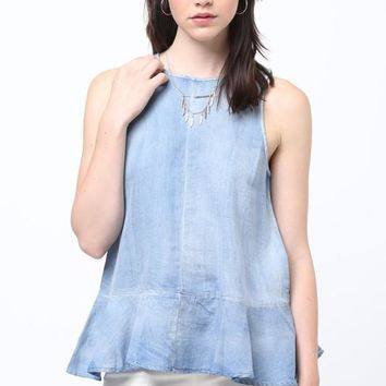 Medium Wash Chambray Ruffle Bottom Tank