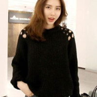 Shoulder Cut-Out Knitted Sweater