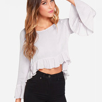 Light Purple Angel Sleeve Ruffled Bottom Chiffon Cropped Top
