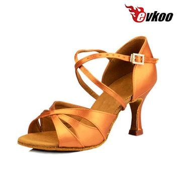 Evkoodance Customized high Heel 6cm 7cm 8cm Tan Satin Soft Woman girls Soft Latin Salsa Ballroom Dance Shoes for ladies Evkoo453