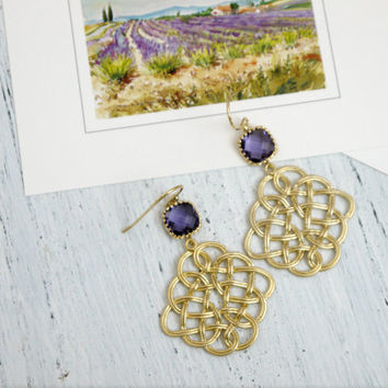 Gold Celtic Knot Earrings with Amethyst Crystal, Gold Filigree Dangle Earrings,Gold and Amethyst Chandelier Earrings,Wedding Earrings