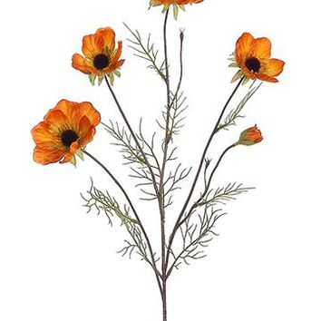 "Artificial Cosmos Fall Flowers in Mustard Orange - 28"" Tall"