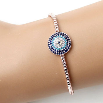 Rose gold evil eye bracelet, rose gold bracelet, turkish eye, fashion jewelry, adjustable bracelet, hristmas gift, gift for her