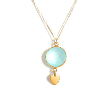 Aqua Chalcedony Gold Pendant Necklace
