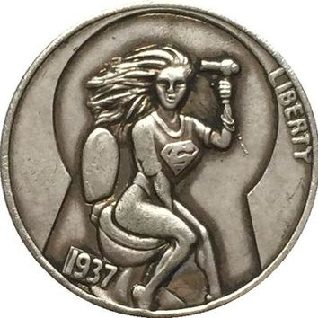 !!!RARE!!! Hobo Nickel 1937  BUFFALO NICKEL SUPERGIRL ON TOILET KEYHOLE