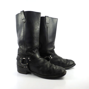 Black Harness Boots Vintage 1980s Motorcycle Leather men's size 12 D