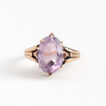 Antique Victorian 10k Rose Gold Rose de France Amethyst Ring - Vintage Size 6 1/2 Light Purple Oval Gem February Birthstone Fine Jewelry