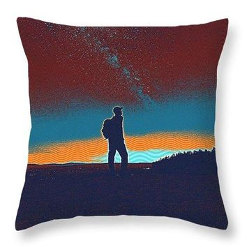 The Milky Way, The Blood Moon And The Explorer By Adam Asar 5 - Throw Pillow