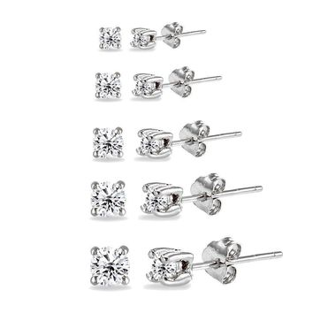 5 Pair Set 925 Silver Cubic Zirconia Round Stud Earrings, 2mm 3mm 4mm 5mm 6mm