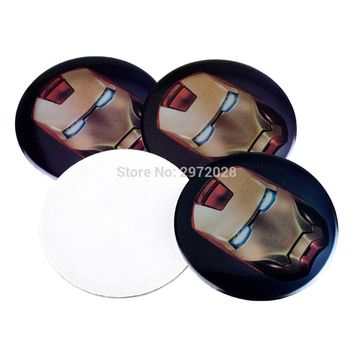 4 x Car Styling Ironman 3D Metal Chrome Aluminium Alloy Wheel Center Cap Stickers Wheel Hub Cap Decals 3D Emblem Badges