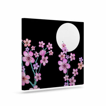 "Julia Grifol ""Cherry Blossom At Night"" Pink Black Canvas Art"