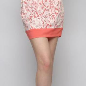 Anniversary Day Contrast Lace Mini Skirt in Coral | Sincerely Sweet Boutique