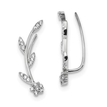 Sterling Silver Rhodium-plated CZ Flower w/Stem Ear Climber Earrings