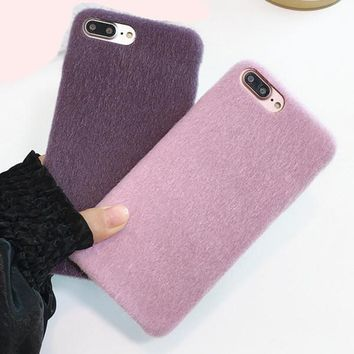 Simple Soft Fur Phone Cases for iPhone 7 7 Plus 8 8 Plus X