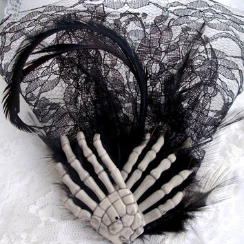 Goth Wedding Feather Fascinator Black Lace Veil by DemimondeArt